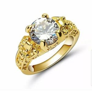 Size 8 Jewelry white Zircon yellow Rhodium Plated